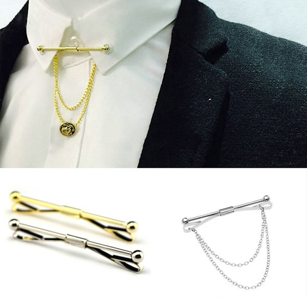 Gold silver Chain Ball Head Men's Business Tie Collar Pin Brooch Tie Stick Lapen Pin Shirt with Collar Bars Jewelry Wedding tie ciips 070002