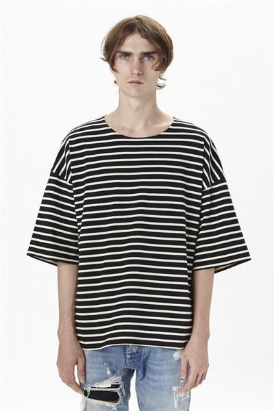 Nueva camiseta de algodón de verano de gran tamaño, camiseta casual suelta con rayas blancas y negras para hombre, talla S-XL