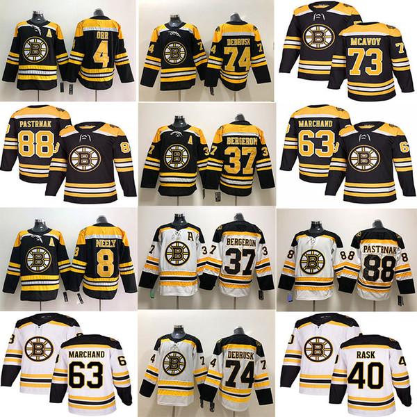 2019 bo ton bruin hockey jer ey 33 zdeno chara 8 cam neely 88 david pa trnak 63 brad marchand 73 charlie mcavoy 74 jake debru k 46 krejci, Black;red