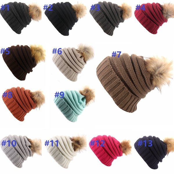 top popular 13 colors Women Winter Knitted Beanie Faux Fur Cap Pom Ball Crochet Hats Knitted Hat Skully Warm Ski Trendy Soft Thick Caps Great quality 2019