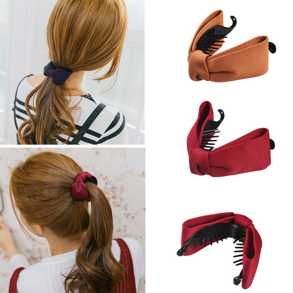 M MISM Girls Simple Cloth Bow Banana Hair Comb Clips Korean Fashion Style Ponytail Holders Sweet Solid Color Hair Accessories