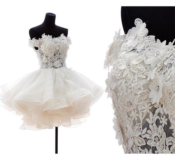 Short Wedding Dress 2019 Sweetheart Lace Appliqued Off the Shoulder Wedding Gowns Bride Dress Vestido de Noiva
