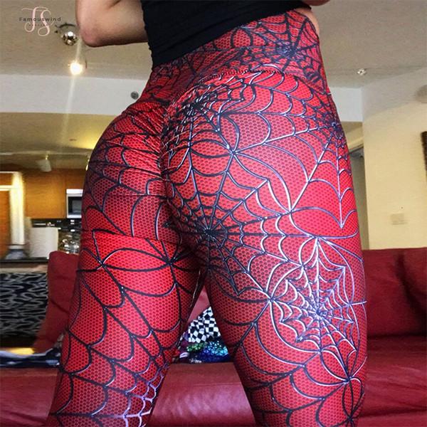 Farben-beiläufige Frauen-feste Gamaschen New Spider Linie Polyester Leggings Druck Hüfte mit hohen Taille beiläufige Abnehmen Fitness Legging