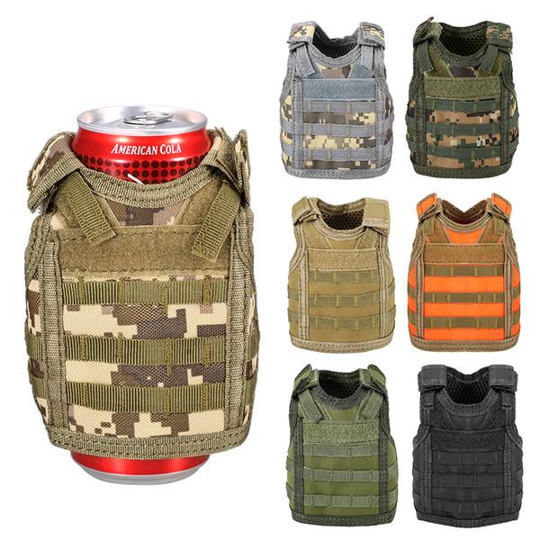 best selling Beer Vest Outdoor Tactical Molle Mini Miniature Beverage Bottle Can Cooler Holder Sleeve Adjustable Shoulder Straps
