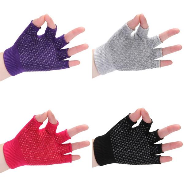 Mounchain Wrist Protect Confortevole Guanti da Yoga semi-finger traspirante Guanti da equitazione in cotone antiscivolo professionali # 119751