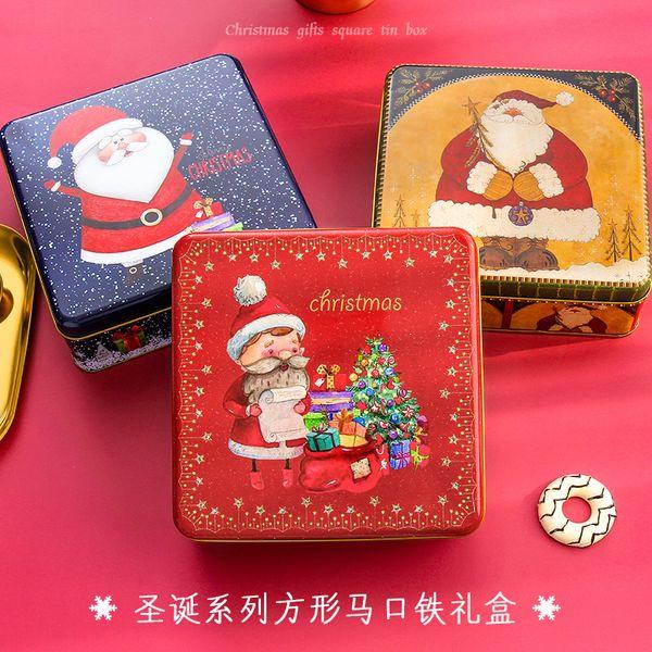 레트로 크리스마스 노인 광장 선물 상자 큰 크리 에이 티브 베이킹 비스킷 상자 Makou 선물 주석