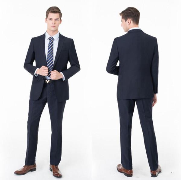 Handsome Navy Men Wedding Suits Two Pieces (Blazer+Pant) Slim Fit Bridegroom Formal Business Wear For Sale