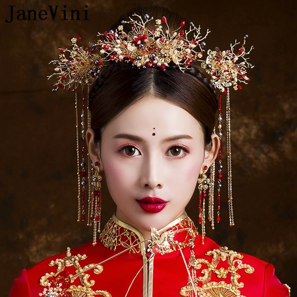 JaneVini Traditional Chinese Style Red Beaded Bridal Headdress with Earrings Ancient Jewelry Hairpins Long Tassels Wedding Hair Accessories