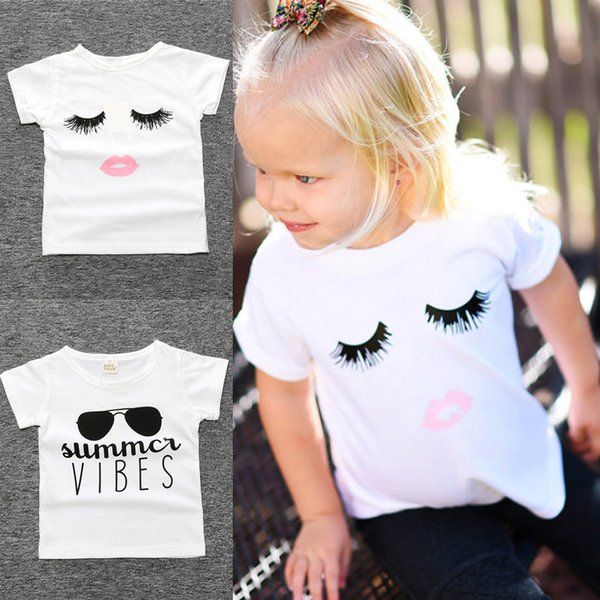 Summer Newborn baby girl kids clothes 2 styles Eyelashes Tops T-shirt Sunglasses letters Printed T-shirt Kids Designer Clothes Girls JY317
