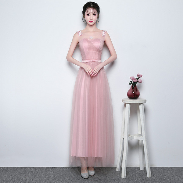 In Stock Sash Pink Cheap Formal Junior Bridesmaid Dresses for Women Weddings Party Girls Prom Cocktail Mesh Communion Dresses Plus Size