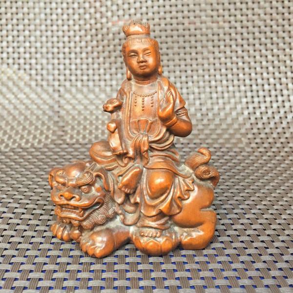Rare ancien travail manuel de buis Kwan-Yin Ride Kylin Collection Antique Statue Netsuke