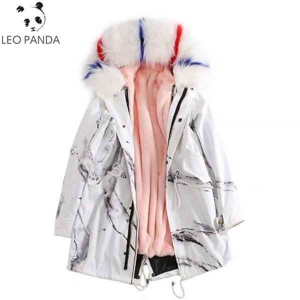 2019 Winter Mid Long  Fur Liner Raccoon Fur Collar Female Jacket Women Faux Coat Print Hooded Thicken Warm Parka Coats