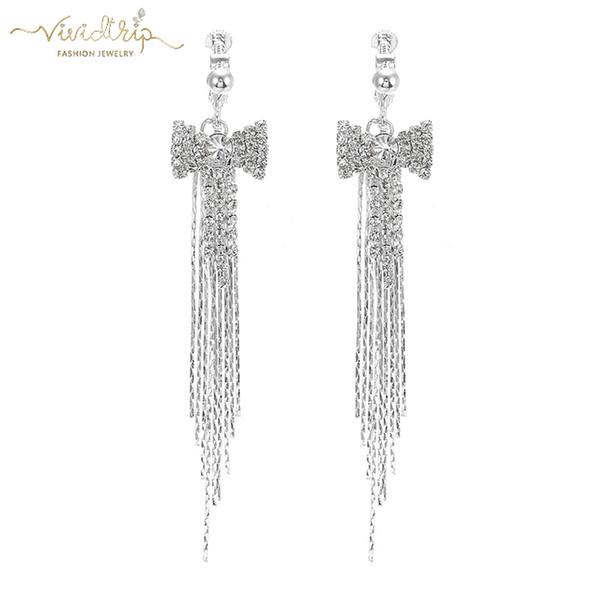 2019 Luxury Silver Full Rhinestone Long Tassel Clip on Earrings for Women Without Piercing Wedding Ear Clip Bridal Party Jewelry