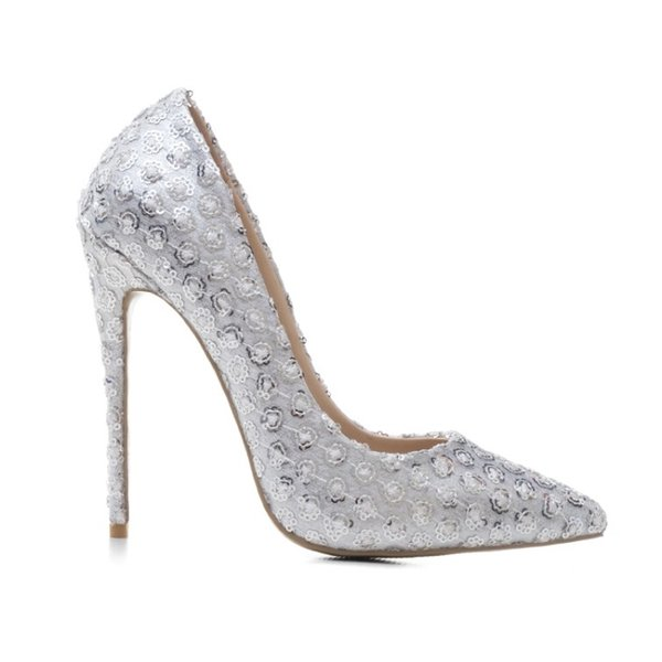 2019 Elegante Hochzeit Party Blume Pailletten Frau Pumpt 12 cm Dünne Spitze Hohe Absätze Weiß Glitter Spitzschuh Club Büro Damen Kleid Schuhe