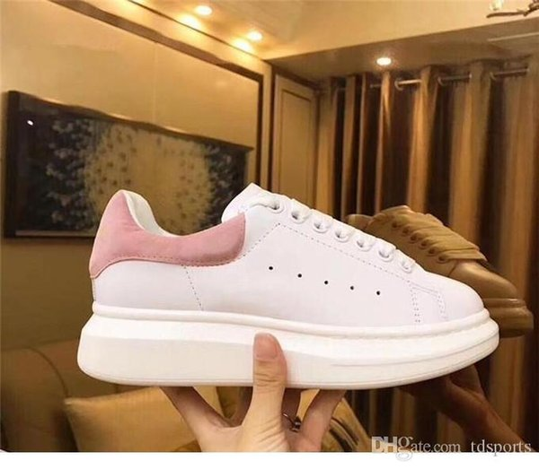 2019 Promotion Fashion Casual Shoes Flats Fashion Thick Sole Leather Walking Shoes Outdoors Daily Dress Party Sneakers with box