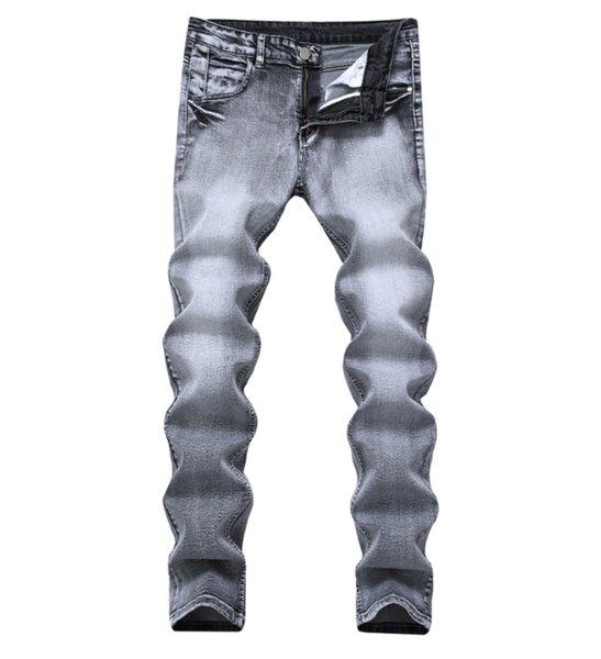 Vintage Designer Mens Jeans Light Grey Color Straight Slim Jeans para hombres Pantalones de mezclilla de algodón Pantalones casuales Pantalones de Jean elásticos de la marca