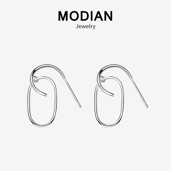 Modian 2019 Nueva Venta Real 925 Pendientes de Aro de Pin de Estilo de Plata Esterlina Para Las Mujeres Tiny Charm Joyería Fina
