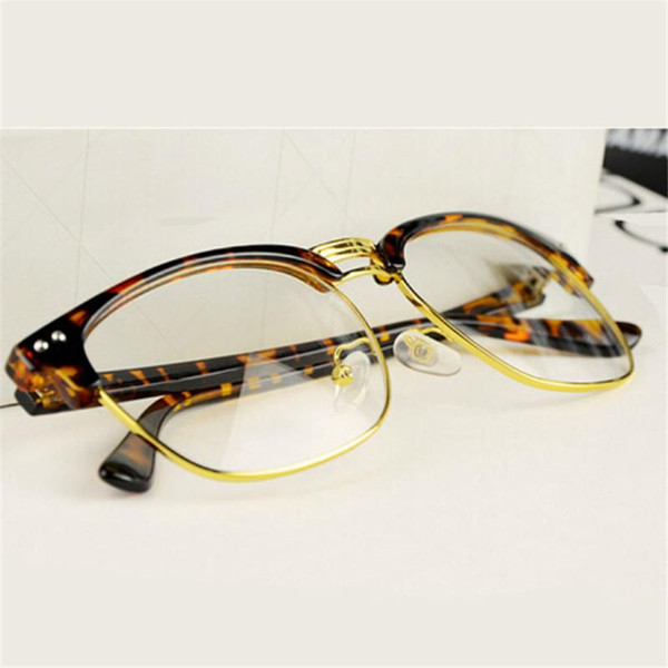 Leopard Fashion metal Glasses square Frame Retro Women Clear Lens Eyeglasses Anti-radiation computer eyewear mens Glasses glass