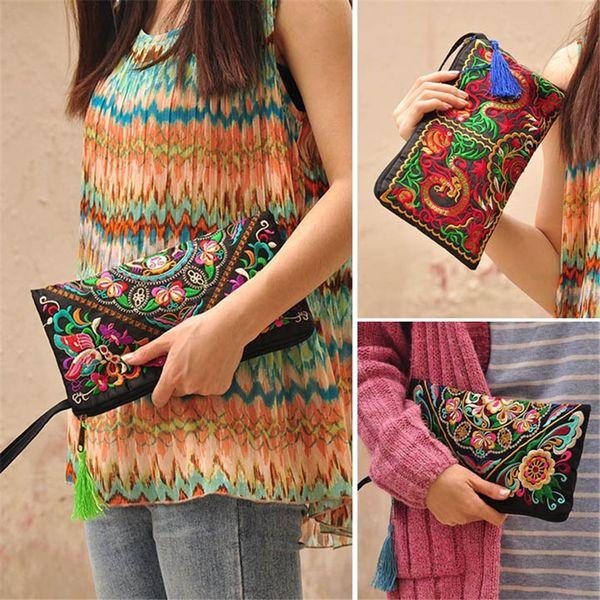 Kadınlar Etnik Vintage Çanta Çanta Cüzdan Cüzdan Ulusal Retro Işlemeli Püskül 2019 Ile Telefon Bozuk Para Çanta Değişimi