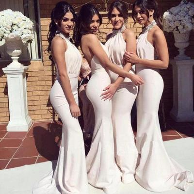 In stock 2019 hot sale explosions sleeveless hanging neck bridesmaid dress / bride white chiffon long bridesmaid Backless evening dress