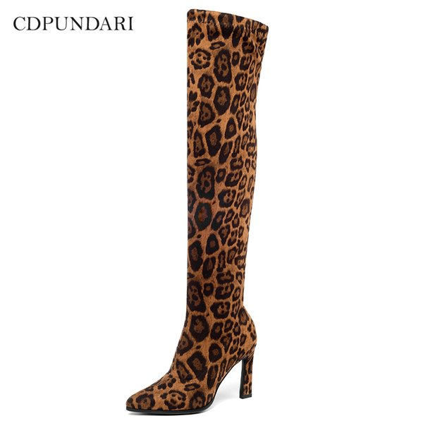 CDPUNDARI Sexy Stretch Fabric High heels over the knee boots women thigh high boots Ladies Winter shoes woman