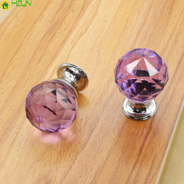 30-40mm Crystal Glass Ball Design Clear Crystal Glass Knobs Cupboard Drawer Pull Kitchen Cabinet Wardrobe Handles Hardware