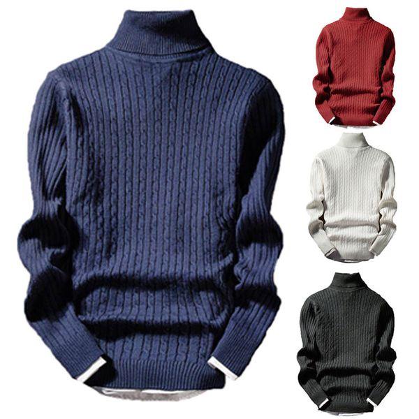 2019 Nuovo stile moda uomo caldo inverno maglione lavorato a maglia rotolo collo alto maglione pullover maglione caldo top
