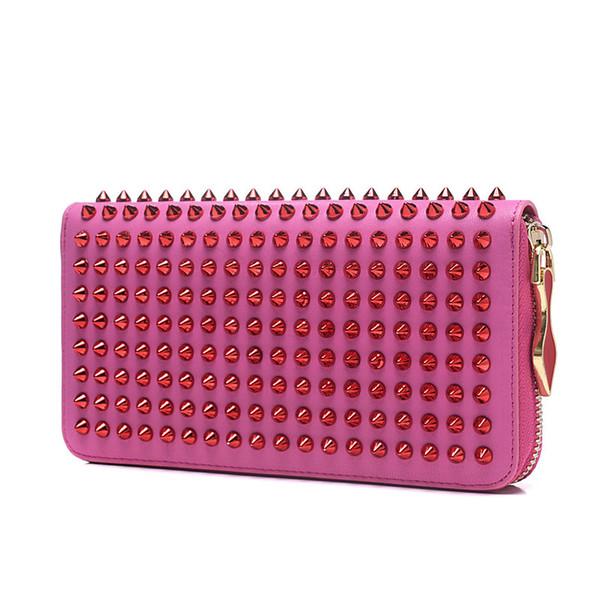 New designer women wallets hand bag fashion Fuchsia leather with glitter spikes zipper luxury designer brand women wallets drop shipping