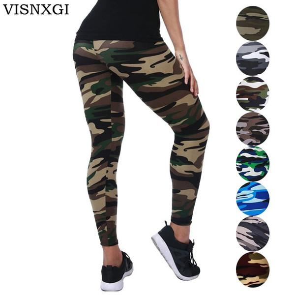VISNXGI Nueva Moda Camuflaje Impresión Elasticidad Leggings Camuflaje Pantalón de Fitness Legins Casual Leche Legging Para Mujeres