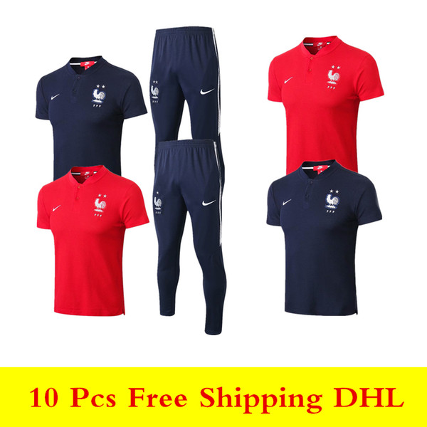 top popular wholesale new 18 19 Frence 2 starts Polo shirts Pogba sweatshirt 2018 2019 Mbappe soccer jersey Griezmann Giroud short sleeve training suits 2019