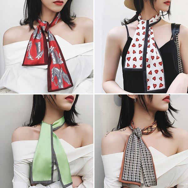 Fashion Colorful Small Ribbon Silk Scarf Girls Neckerchief Woman Hair Band Scarf Bag Handle Wraps for Spring and Summer