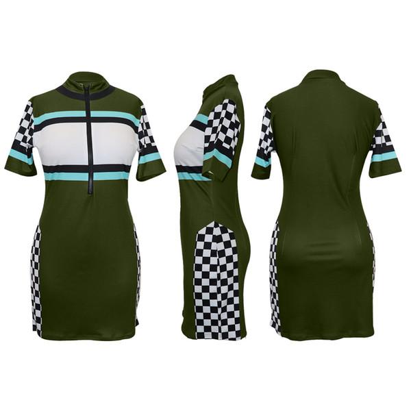 Womens Designer Kleid Sexy Zipper V-Ausschnitt Kleider Fashion Party Style Plaid Skinny Kleidung Casual Striped Bodycon für Damen 2019 Sommer