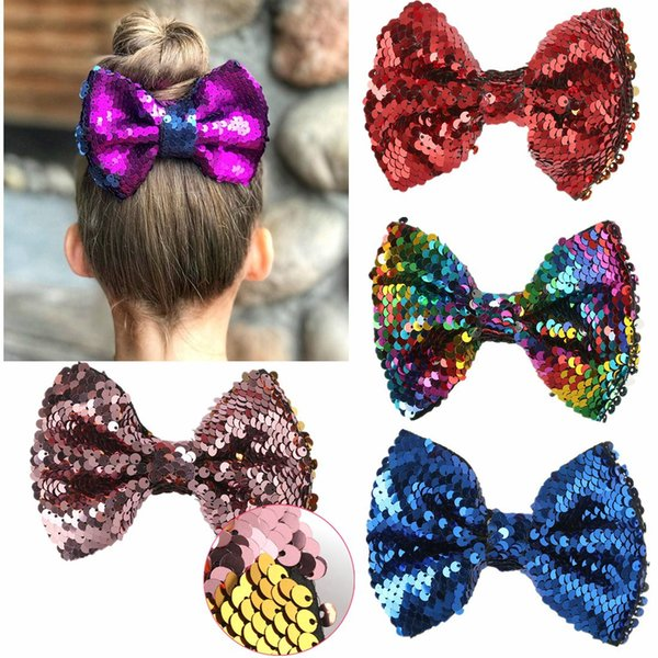top popular Cute Kids Sequins Bow Hairpin Creative Two-sided Rotatable Butterfly Bowknot Hair Clips Fashion Children Party Hair Ornaments TTA1442 2019