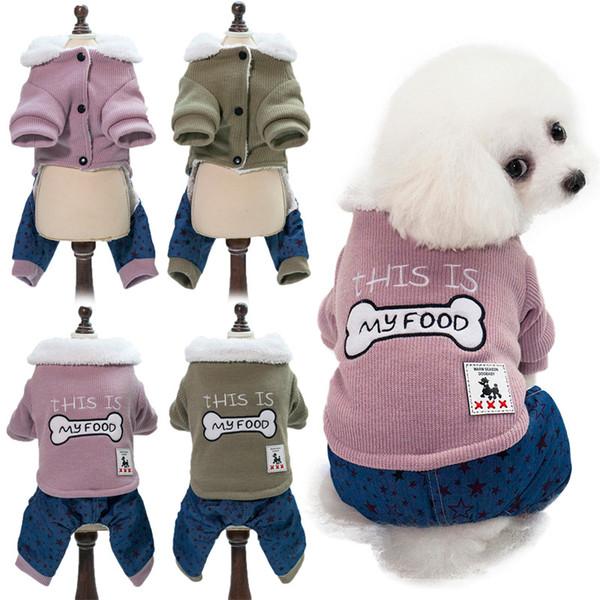 Dog Herbst und Winter neue Hunde Kleidung warmer Winter warm Hundekleidung zweifarbige Spleißen Knochen Abbildung vier Füße Baumwollkleidung