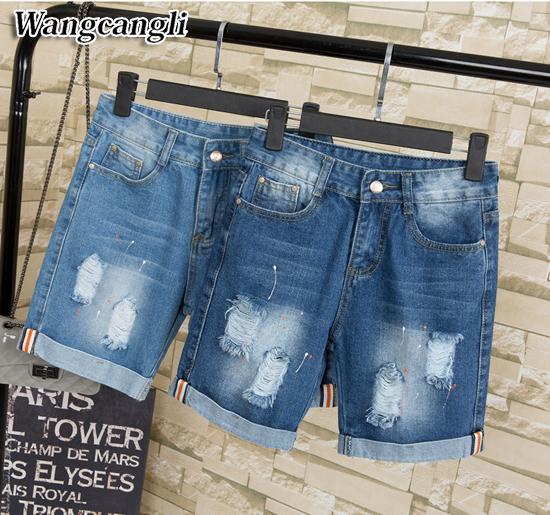 2017 europäischen Und Amerikanischen Sommer Wind 5xl Weibliche Blaue Hohe Taille Denim Shorts Frauen Plus Größe Jeans Shorts Loch Denim Reithose Y19051801