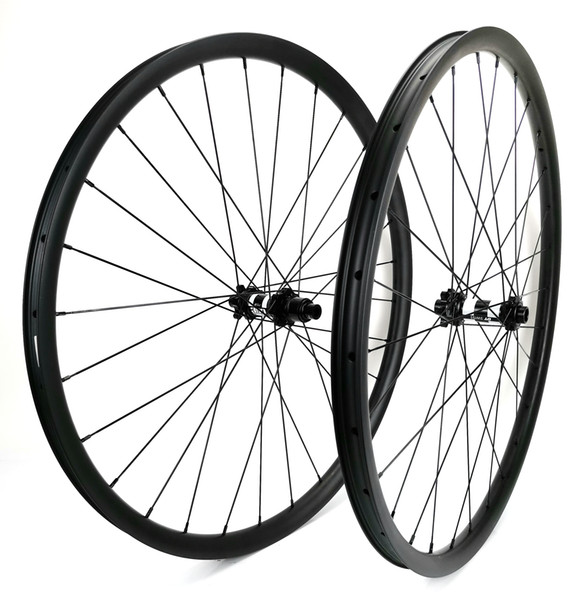 29er Mountain Bikes carbon wheels 30mm width 24mm depth tubeless MTB XC carbon wheelset with UD matte finish DT hub
