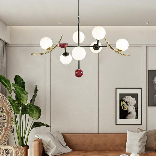 Modern Ball Chandelier Lighting Nordic Glass Ball Light Fixture  Bedroom/Bar/Dinning Room Hanging Light Home Indoor 110V 220V Pendant Light  Kits Iron ...