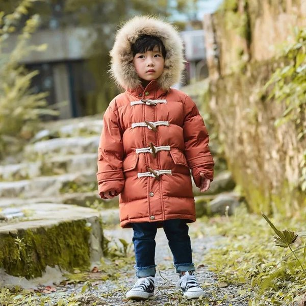 Boys Winter Jacket For 3-7 Years Old Kids Long Down Coats Hooded Collar Thick Warm Claw Button Clothes Children's Zipper Parka