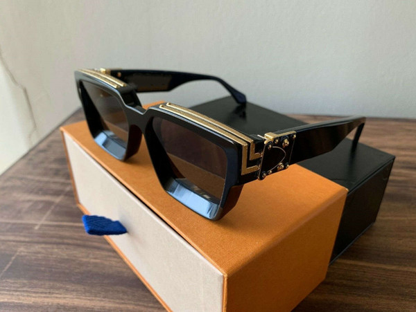 2019 Lüks MILLIONAIRE M96006WN Güneş Gözlüğü tam kare Vintage tasarımcı güneş gözlüğü erkekler için Parlak Altın Logosu Sıcak satmak Altın kaplama Üst 96006