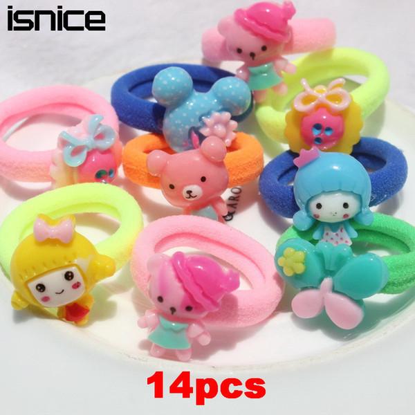 14 Pcs Kids Hair Accessories Animal Elastic Hair Tie Cartoon Headband Candy Color Gum For Hair Band Headwear New Arrival