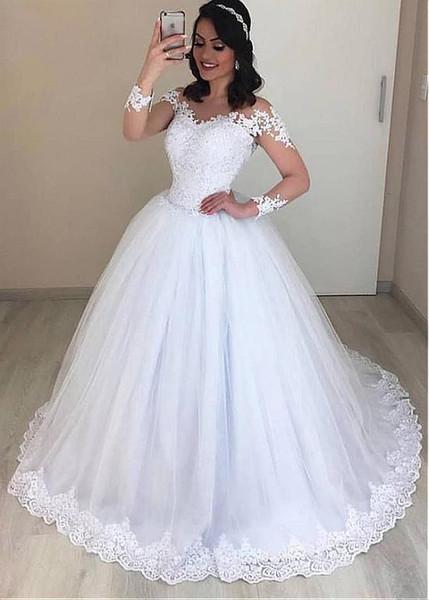 Exquisite Tulle Jewel Neckline Ball Gown beach wedding dresses With Beaded Lace robe de mariée long sleeve princess wedding dress 2019