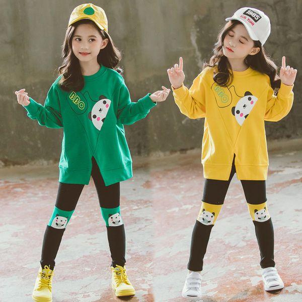 Ropa para niños 2019 Conjuntos de ropa para niñas Boutique Niños Conjuntos Adolescentes Otoño Otoño Panda Sudadera + Pantalones 2 a 13 años