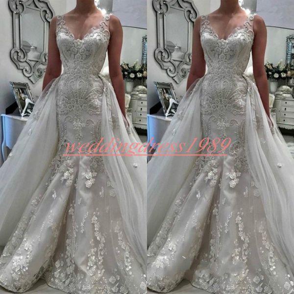 Glamorous V-Neck Arabic Mermaid Lace Wedding Dresses Overskirt Remove Skirt Floral Bridal Gown Plus Size Bride Dress Vestido de novia Custom