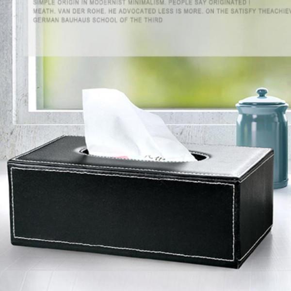 Kitchen Organizer Tissue Box Papieretui PU-Leder Große Antimoisture Rechteckige Papierbox Haushaltsbürohalter
