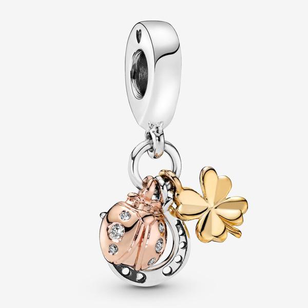 Fit Pandora Bracelet Charme Fer À Cheval, Trèfle Coccinelle Style Charmes Perles Bracelets 925 Bracelet En Argent Cadeau DIY Bijoux Avec LOGO Original