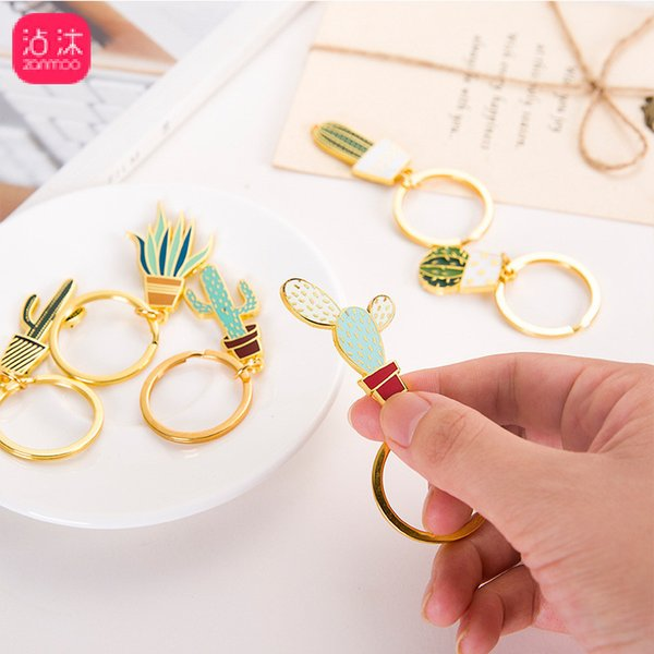 Cactus Keychains Souvenirs Gift Women Man Succulent Potted Plants Key Chain Creative House Car Key Ring Holder Bag Accessories