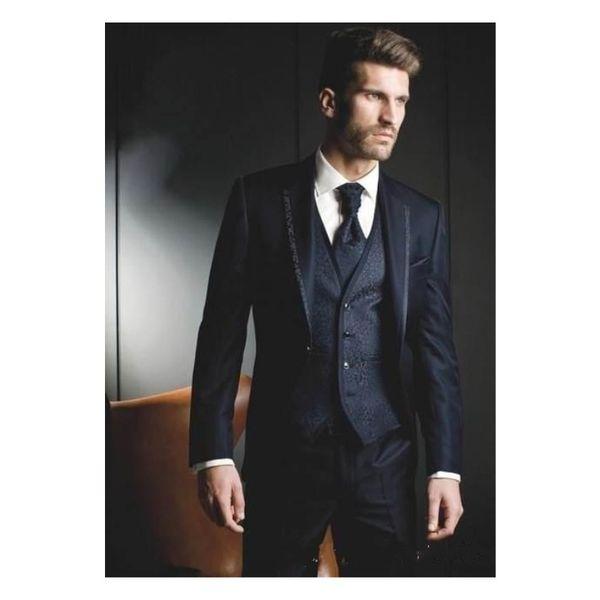 Navy Blue Groom Tuxedos 2019 One Button Groomsmen Best Man Suits Mens Wedding Blazer Suits (Jacket+Pants+Vest+Tie)