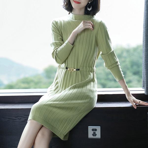 Design de Moda Ladies Sweater Dress de alta qualidade Primavera Outono Feminino Elastic Casual Magro Knit Sweater Vestido manga comprida