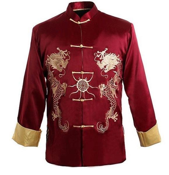 camisa de Kung-u revestimento do revestimento dos homens chineses tradicionais Borgonha bordado com dragão M XL XXXL Atacado