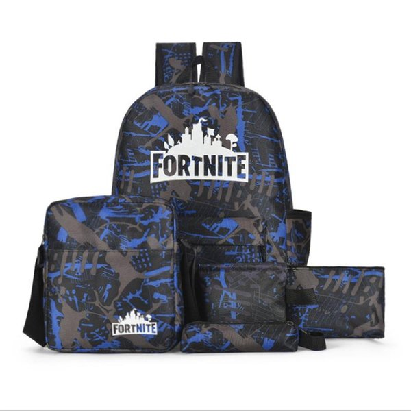 New Five-piece Fortnite Game Thmen Letter Backpack Casual Breathable Universal Multi-purpose Backpack Student Bag Free Shopping